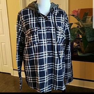 NEW 2XL Active USA Casual Hooded Plaid Button Down